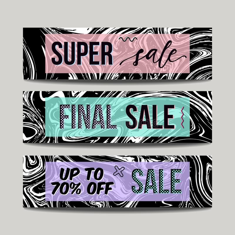 Vector set with ink watercolor hand drawn marble sale banners. vector illustration