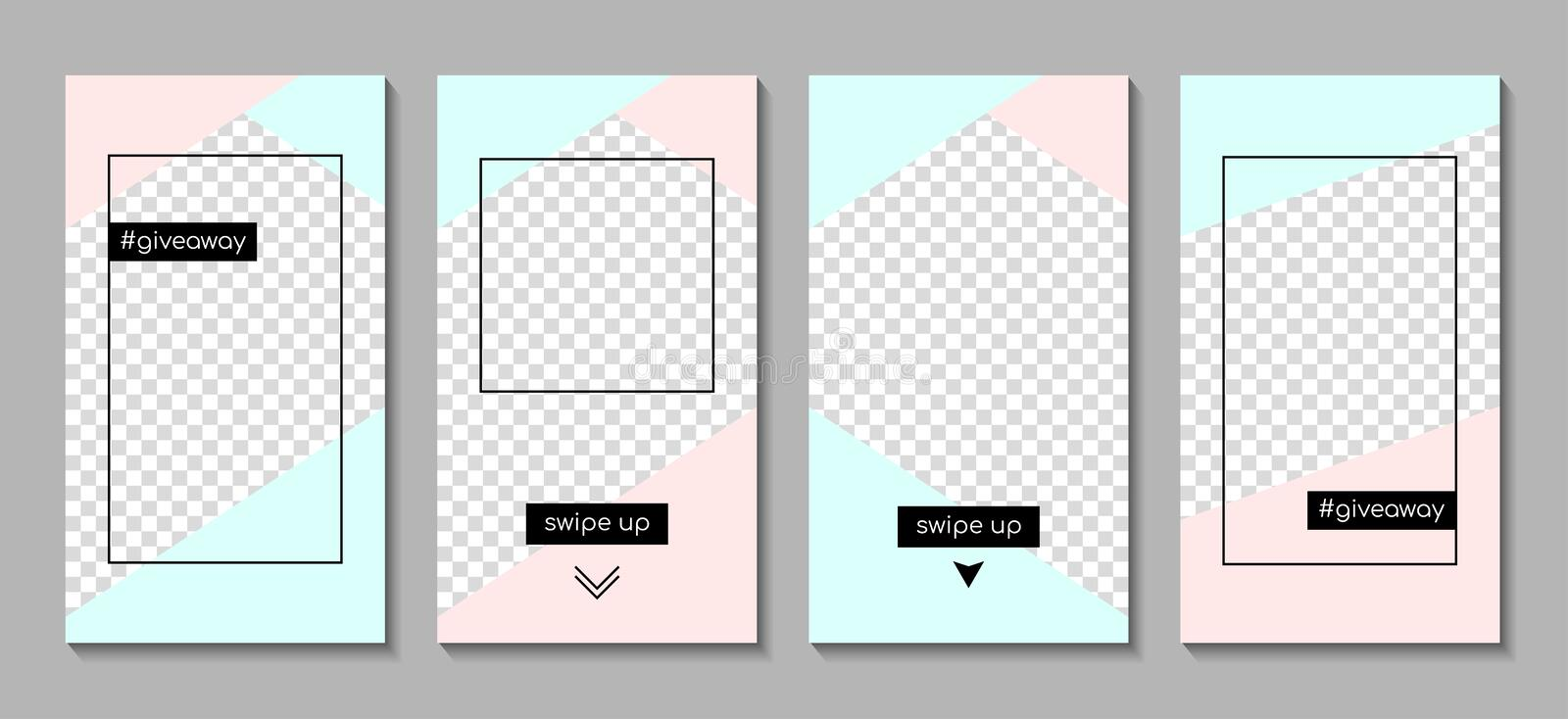 Vector set of instagram stories templates royalty free illustration