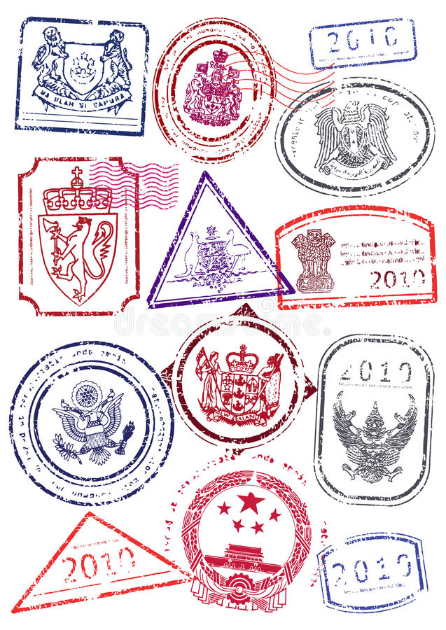 Vector set of international passport stamps. vector illustration