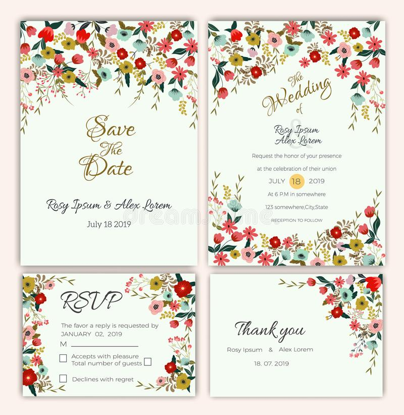 Vector set of invitation cards with flowers elements Wedding col vector illustration