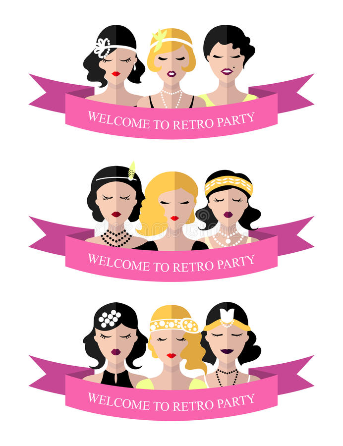 Vector set of invitation template to the retro party with flapper girls in flat style. royalty free illustration