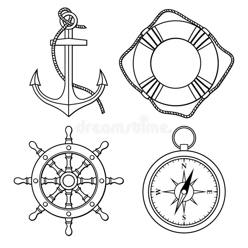 Vector set with isolated anchor, lifebuoy, ships wheel, compass. stock illustration
