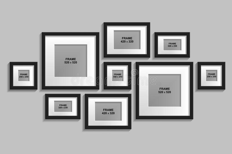 Vector Set Of Isolated Black Frames With Passepartout Stock Vector ...