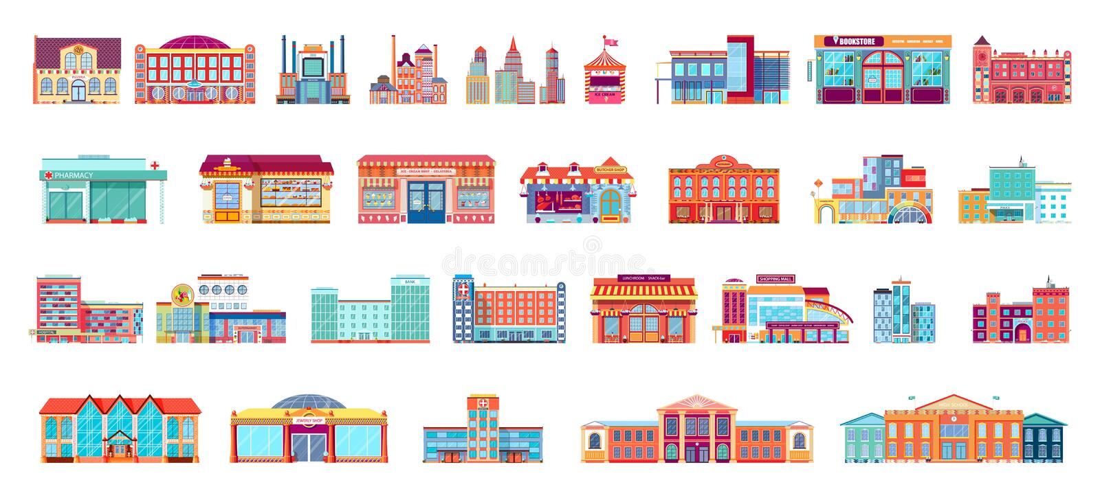 Vector set isolated icons architecture buildings in flat style vector illustration