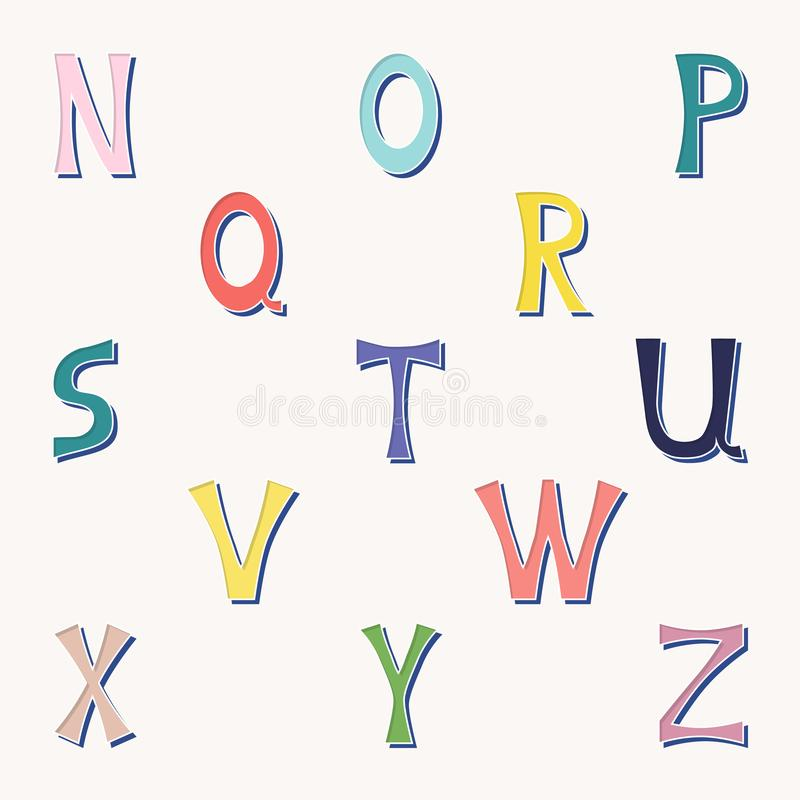 Vector set of isolated letters in bright colors from n to z. stock illustration