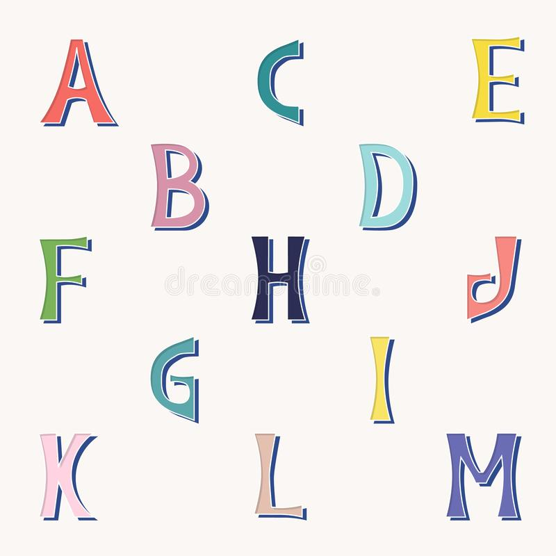 Vector set of isolated letters in bright colors from a to m. vector illustration