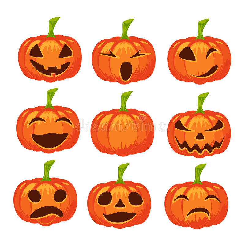 Vector set of isolated pumpkin icons stock illustration