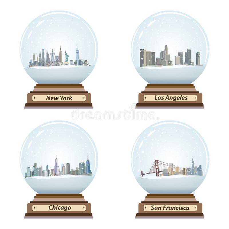 Vector set of isolated snow globes with United States city skylines. Set of isolated snow globes with United States city skylines vector illustration
