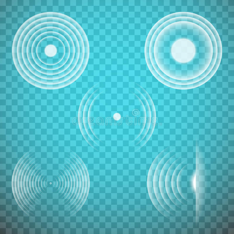 Vector set of isolated transparent sound waves design elements. Sonic resonance, radio frequency, energy radiation, vibration, sound emitting themed royalty free illustration