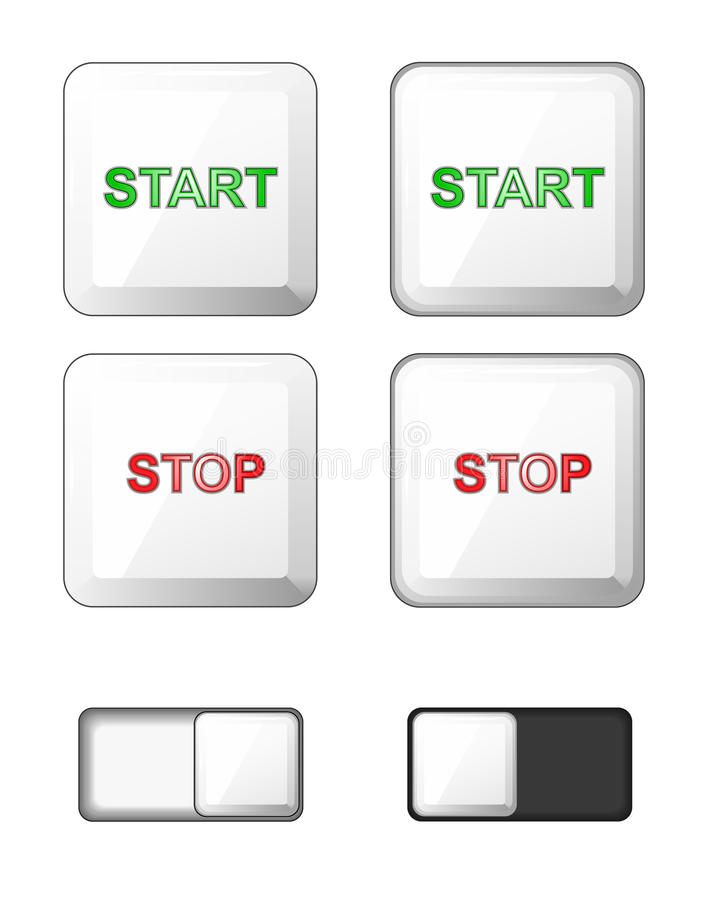 Vector. Set of isolated white square buttons. Plastic buttons, icons for internet: start button, stop button, slider bar -slide bu royalty free illustration