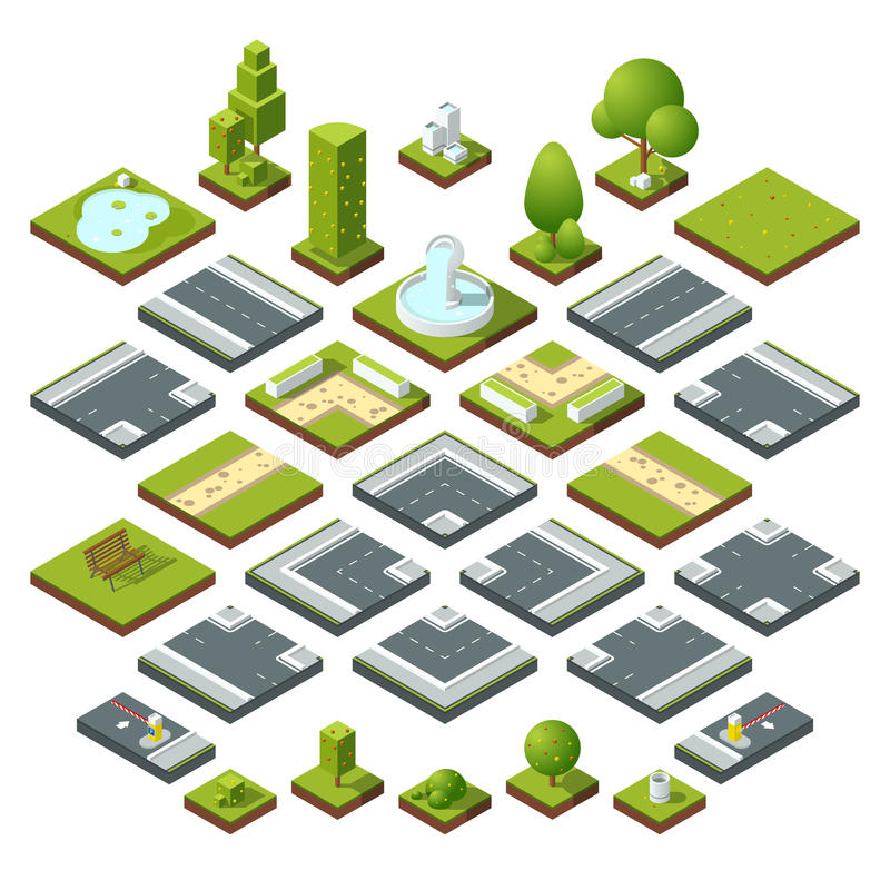 Vector set of isometric city elements, crossroads, road, garden decoration. Benches, fountain trees and bushes stock illustration