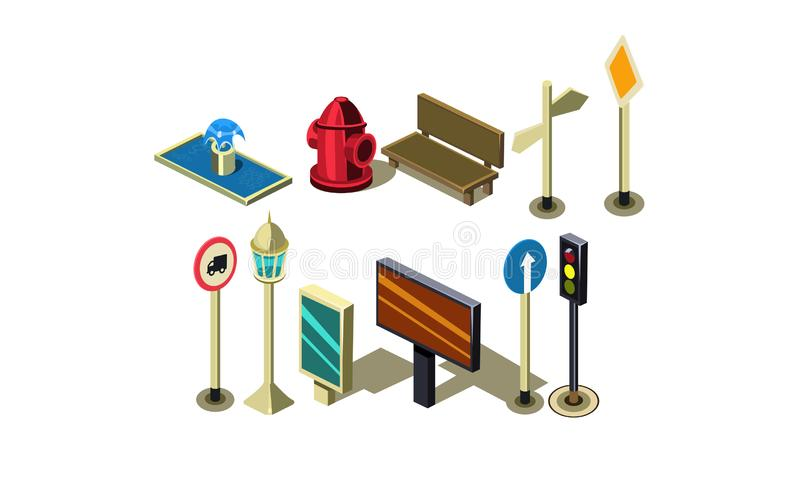 Vector set of isometric city elements. Fire hydrant, bench, traffic lights, billboard, fountain, road signs and lantern. Set of isometric city elements. Fire royalty free illustration