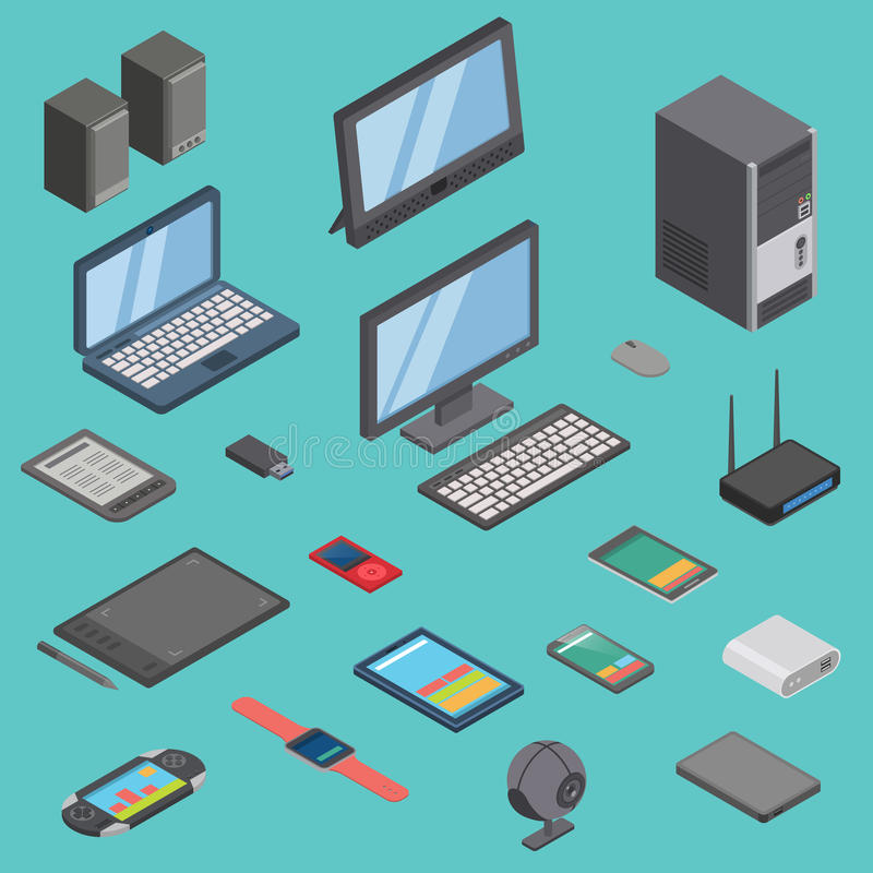 Vector set of isometric computer gadget devices icons wireless technologies mobile communication 3d illustration royalty free illustration