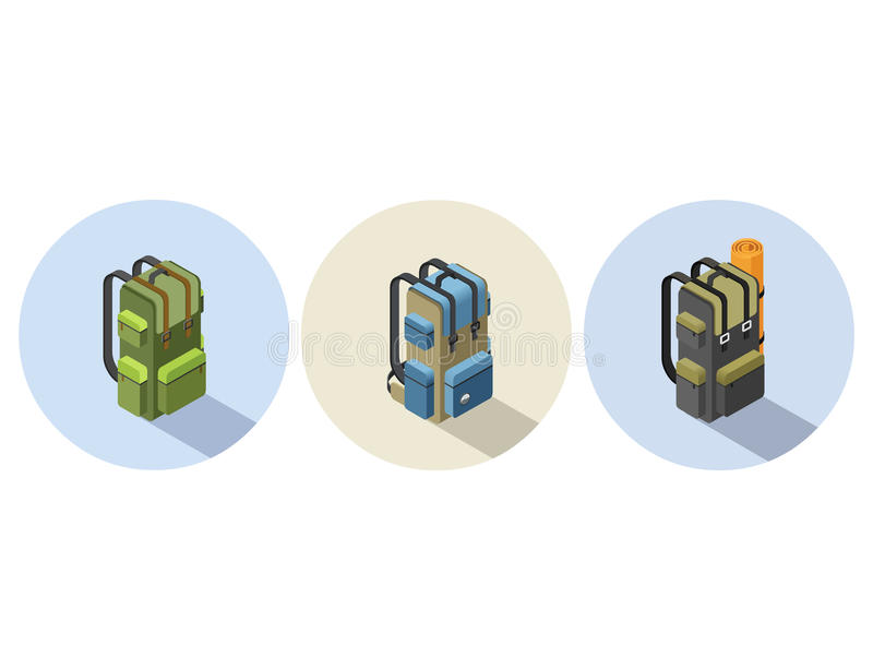 Vector set of isometric illustration of camping backpack stock images