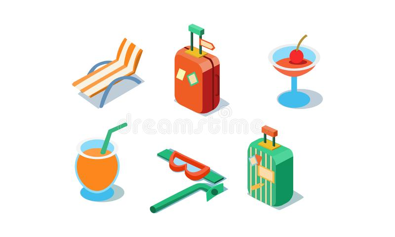 Vector set of isometric travel icons. Beach chair, drinks, luggage, tube and mask for swimming. Summer vacation items vector illustration