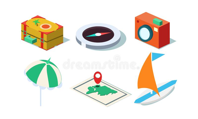 Vector set of isometric travel objects. Yacht, photo camera, beach umbrella, suitcase, map and compass. stock illustration