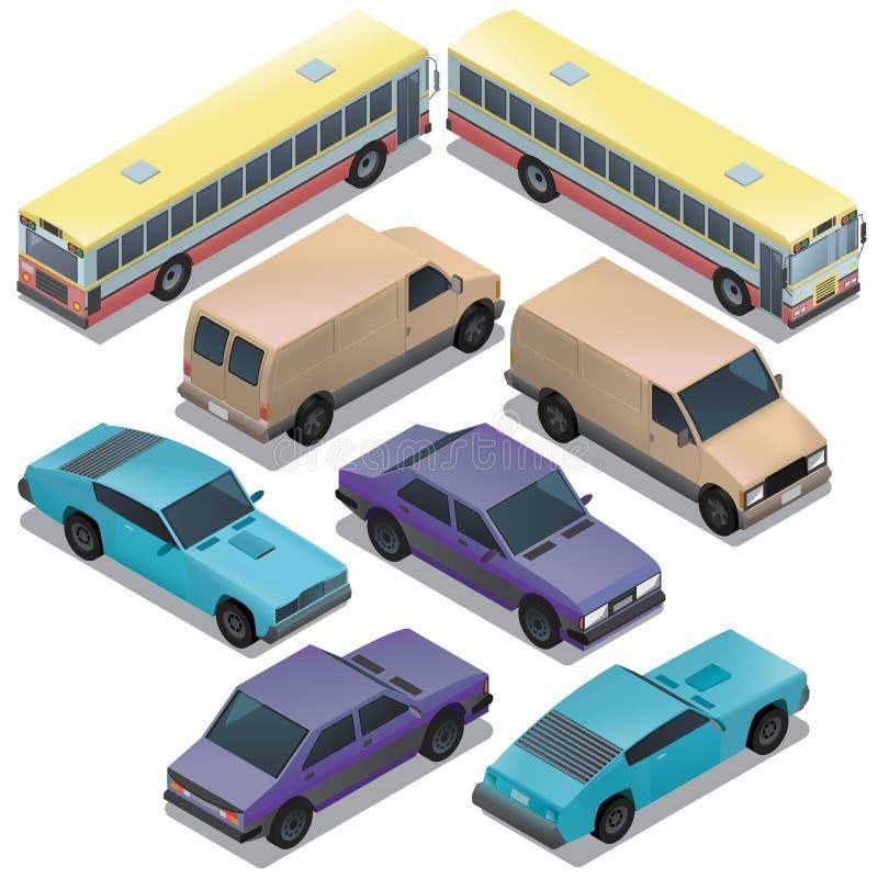 Vector set of isometric urban transportation, cars stock illustration