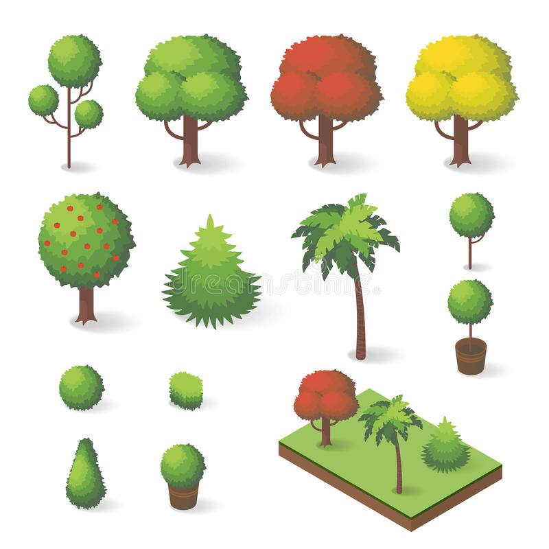 Vector set of isometric various trees vector illustration