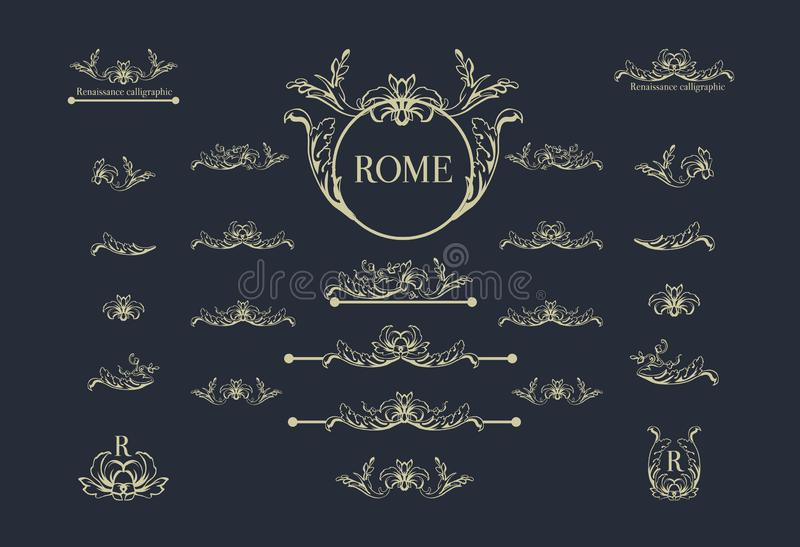 Vector set of italian calligraphic design elements for page decor, dividers and ornate headpieces,vintage underscore stock illustration