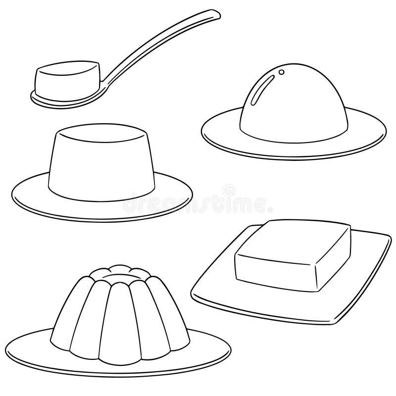 Vector set of jelly. Hand drawn cartoon, doodle illustration royalty free illustration
