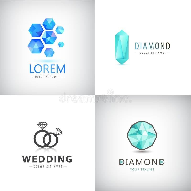 Vector set of jewelery logos, diamond illustration, crystal icons. Wedding rings logo stock illustration