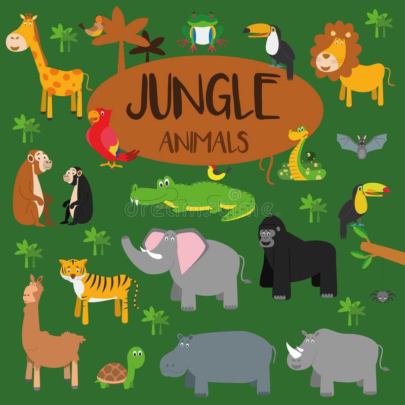 Free Vector Set Jungle Animals. Royalty Free Stock Images - 67367329
