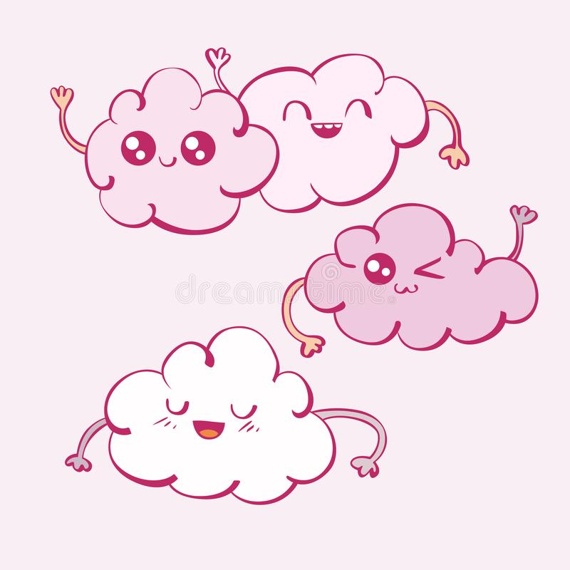 Vector set of kawaii cartoon cute comic clouds stock illustration