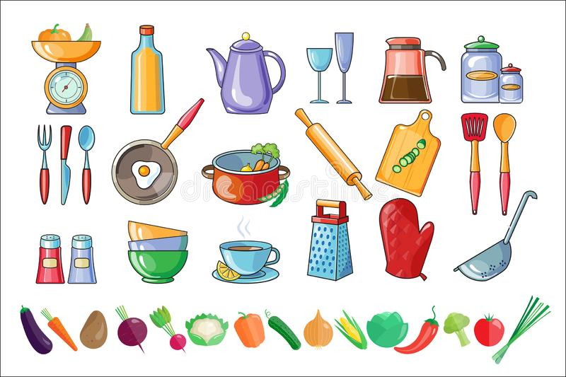 Vector set of kitchen utensils and fresh vegetables. Tools and ingredients for cooking. Drinks and home made food theme royalty free illustration