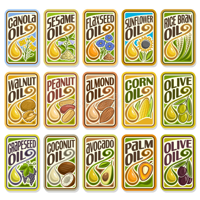 Vector set labels Cooking and Frying Oil. Vector logo Sunflower and Olive Oil, collection set labels sign Cooking and Frying palm and corn oil, sticker yellow stock illustration