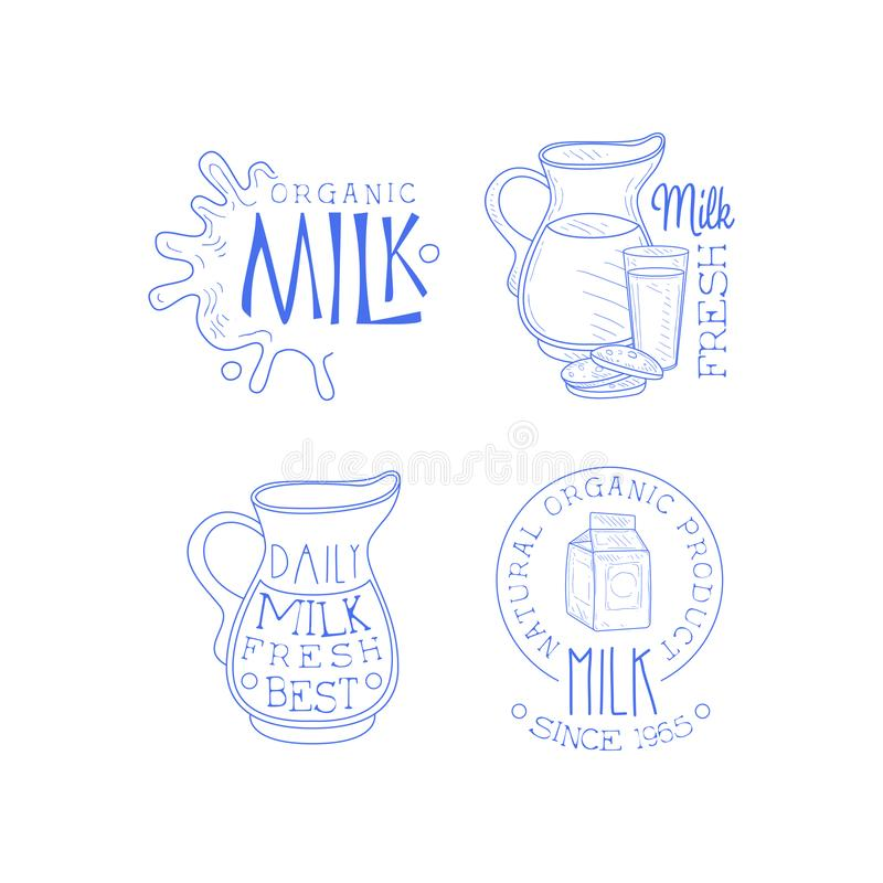 Vector set of labels for dairy products. Sketch style emblems with milk splashes, cardboard packaging, jugs and glass. Collection of original labels for dairy vector illustration