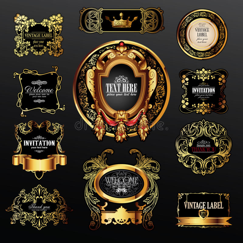 Vector set of labels with gold elements stock illustration