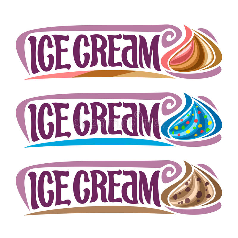 Vector set labels for Ice Cream vector illustration