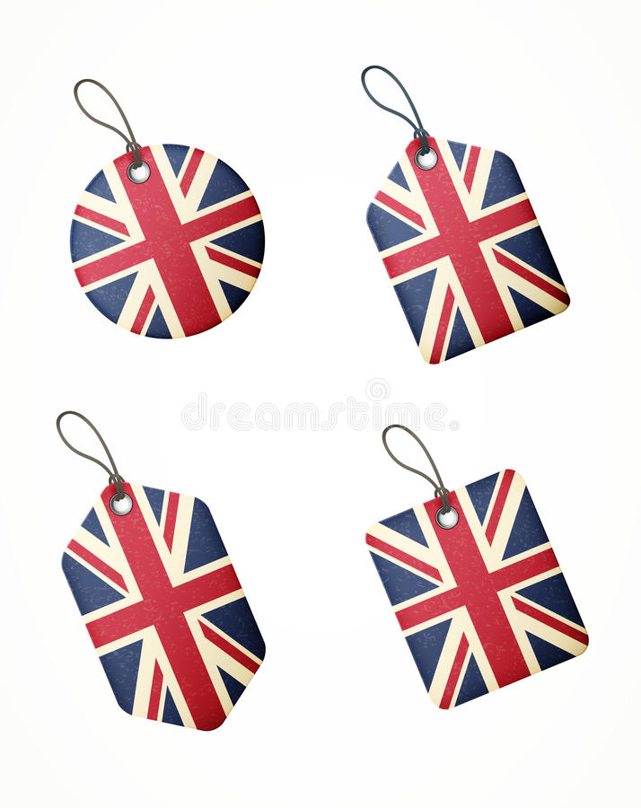 Vector Set Of Labels With United Kingdom Flag Royalty Free Stock Image