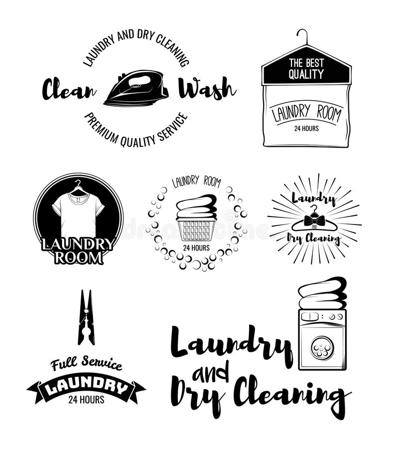 Vector set of laundry labels, emblems and design elements. laundry set washing machine, t-shirt, basket with dirty clothes. Dry cleaning, hanger, iron, laundry royalty free illustration