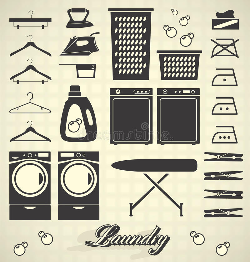 Vector Set: Laundry Room Labels and Icons. Collection of silhouettes and icons for house laundry room vector illustration