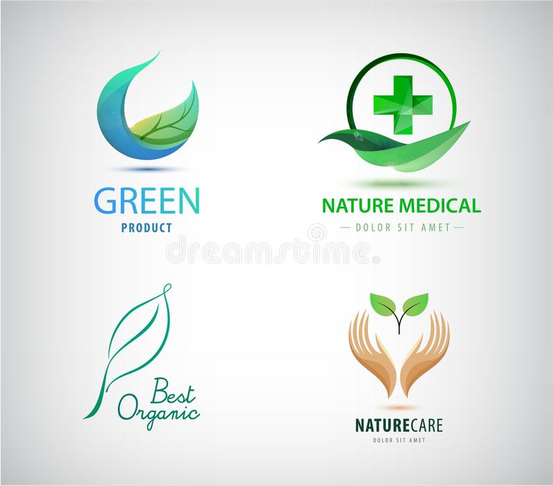Vector set of leaves logos. Natural cosmetics, medicine, eco, organic icons. Green cross and leaf, circle, hand holding. Plant signs stock illustration