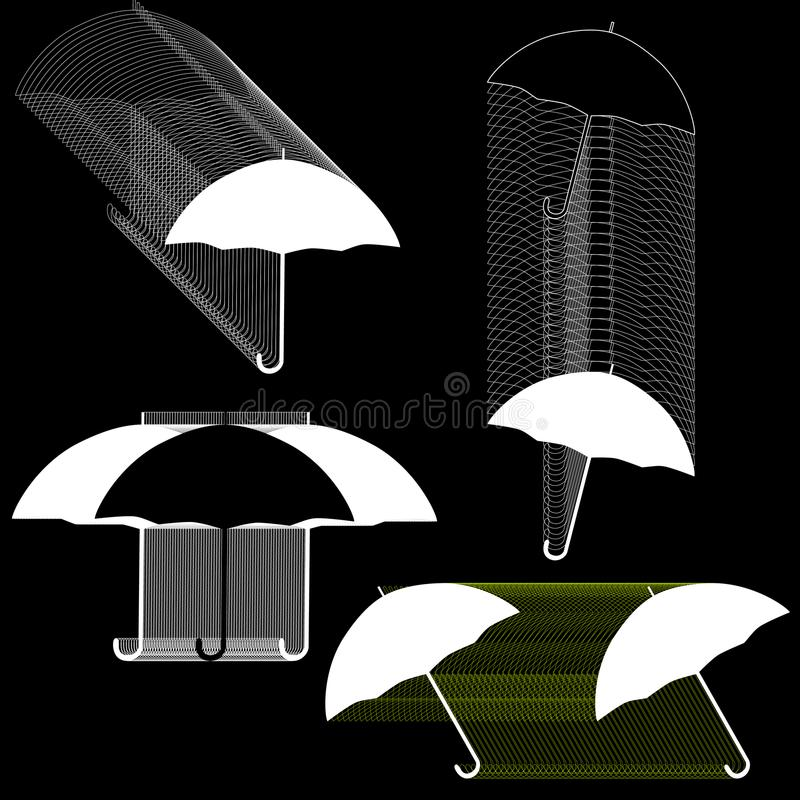 Vector set of line drawing black and white umbrellas. Isolated on black background royalty free illustration