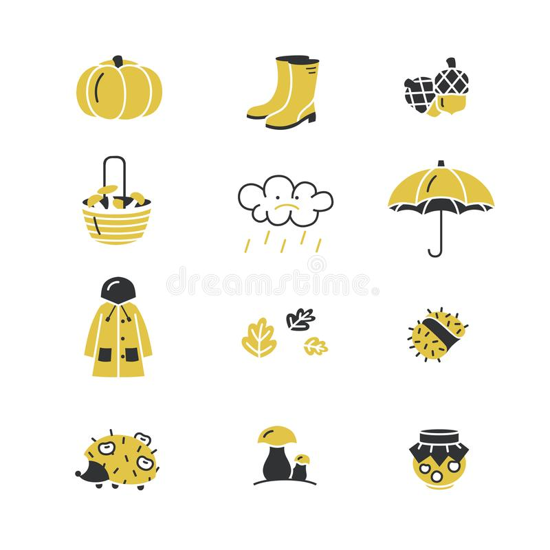 Vector set of linear icons with different autumn symbols. royalty free stock photography