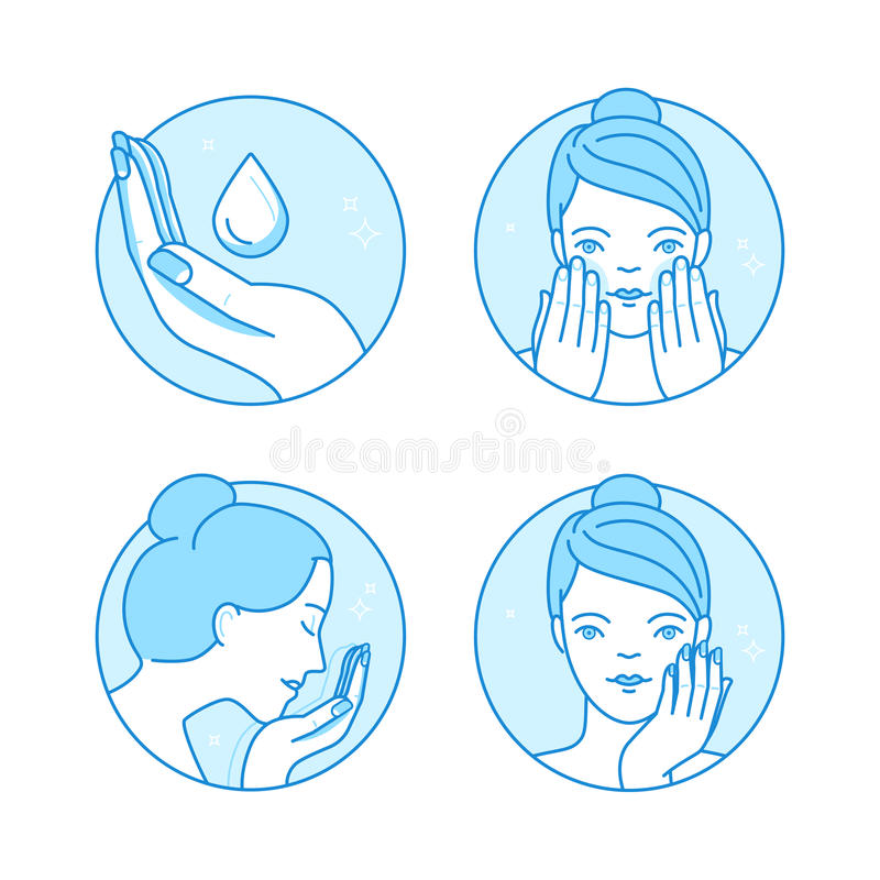 Vector set of linear icons, illustrations and infographics design elements - skin care and cleansing. Woman's face with cream and lotion- beauty and cosmetics royalty free illustration