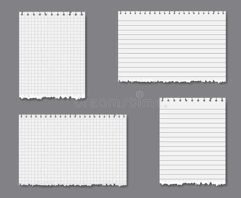 vector set with lined and graph paper stock vector illustration of
