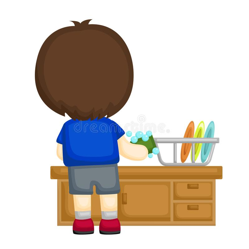 Little boy washing some plates. A vector set of little boy washing some plates vector illustration