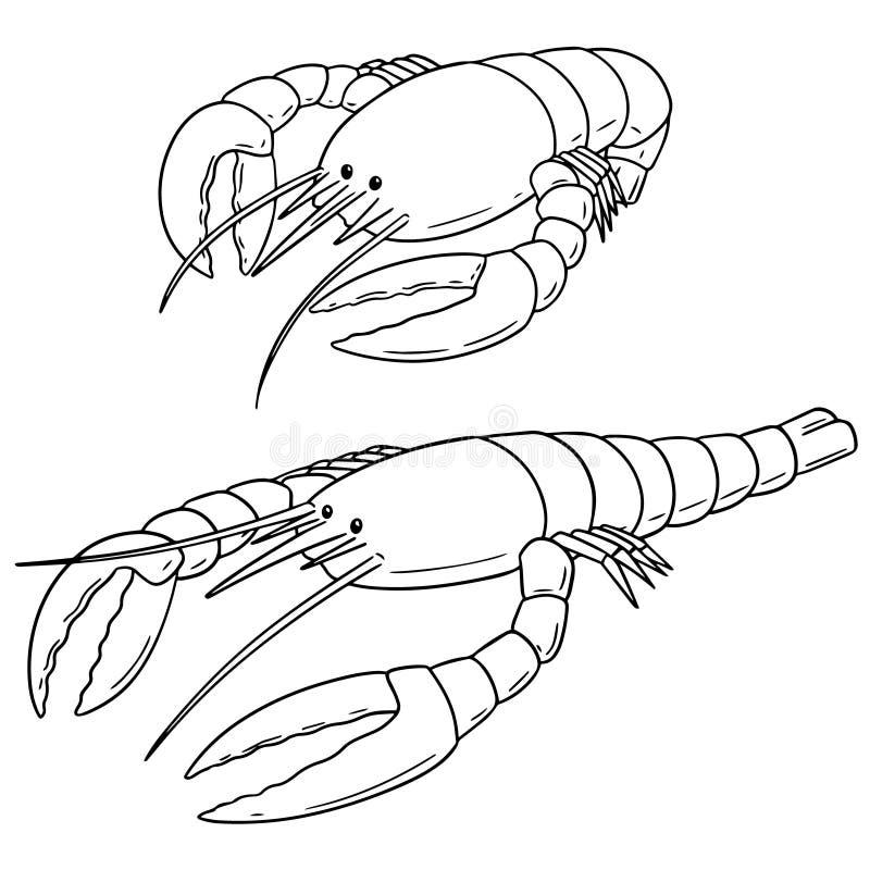 Vector set of lobster stock illustration
