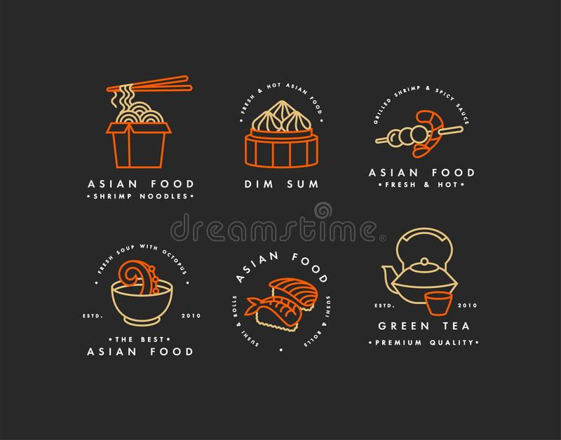 Vector set of logo design templates and emblems or badges. Asian food - noodles, dim sum, soup, sushi. Linear logos. Golden and red stock illustration
