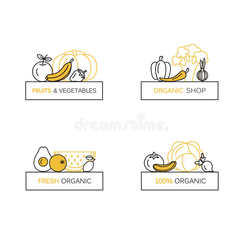 Vector set of logo design templates in line icon style for organic products - fruits and vegetables symbols. Vector set of logo design templates in line icon vector illustration