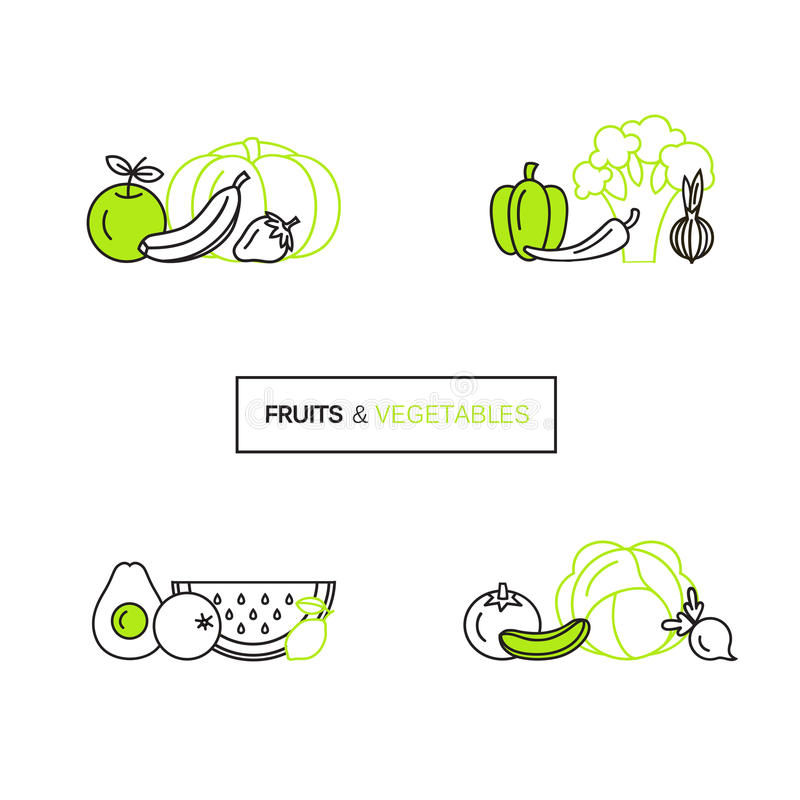 Vector set of logo design templates in line icon style for organic products - fruits and vegetables symbols. stock photography
