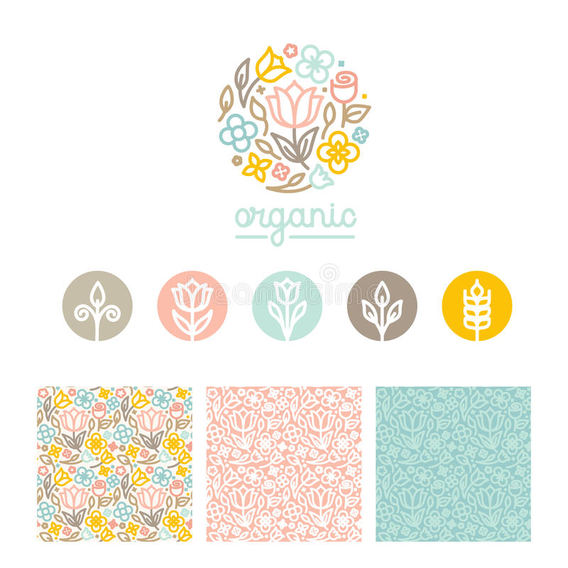 Vector set of logo design templates, seamless patterns and signs vector illustration
