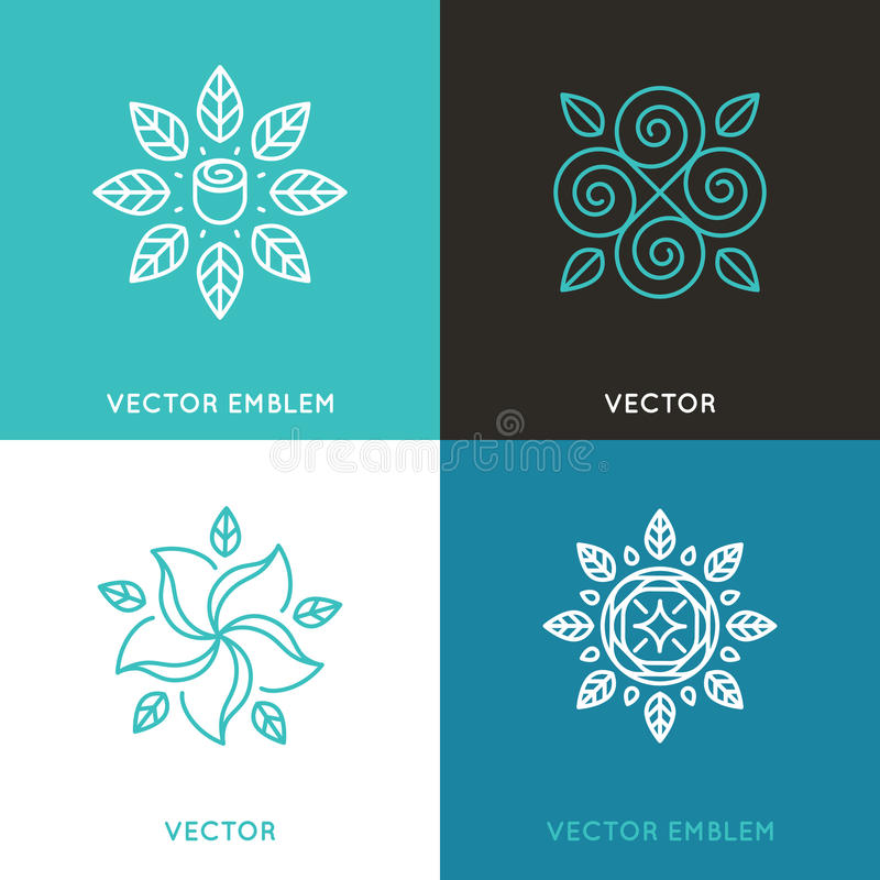 Vector set of logo design templates in trendy linear style stock illustration