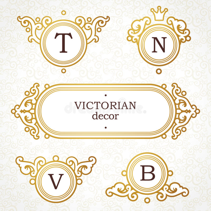 Vector Set Of Logo Template In Victorian Style. Stock