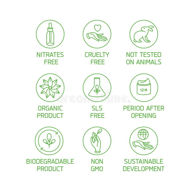 Vector set of logos, badges and icons for natural eco friendly handmade products, organic cosmetics, vegan and. Vegetarian food isolated on white background stock illustration
