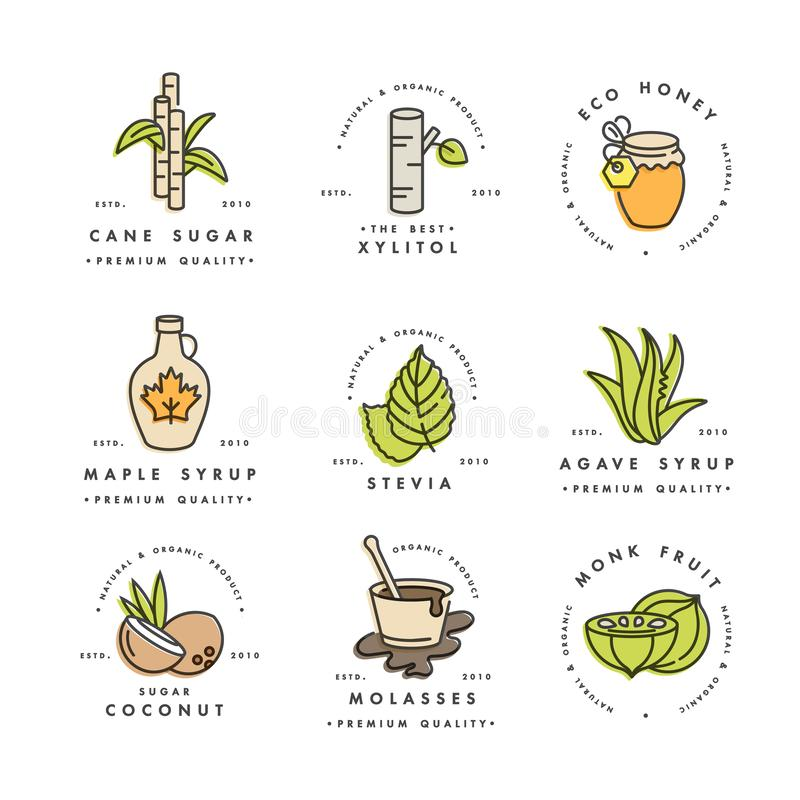 Vector set of logos, badges and icons for natural and organic products. Collection symbol of healthy products and sugar. Alternatives, natural substitutes stock illustration
